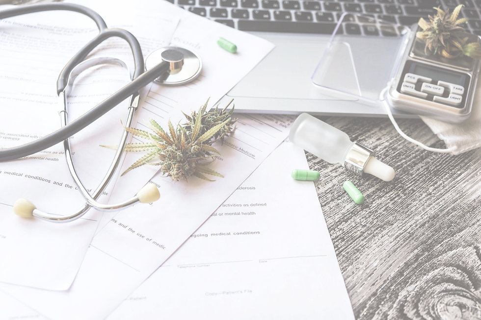 Background image of cannabis doctor's desk