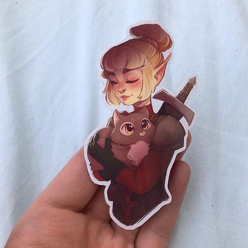 Warrior and her Cat Sticker