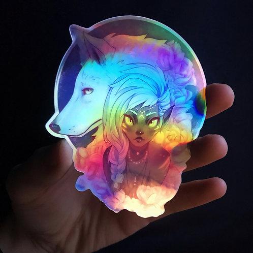 Wolf Spirit HOLOGRAPHIC Sticker