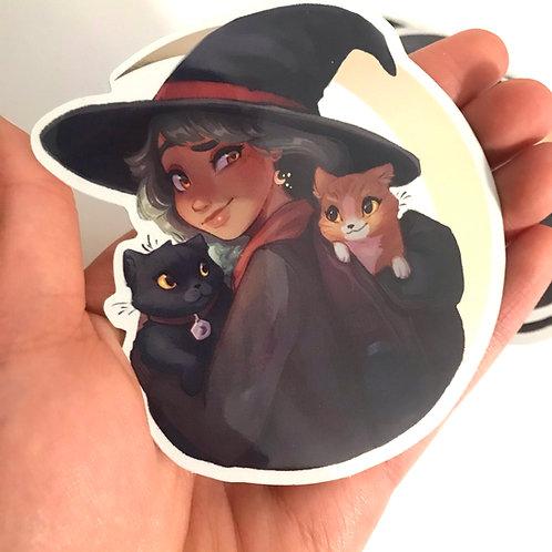 Feline Familiars Gold Moon Sticker
