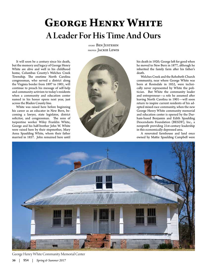 George Henry White: A Leader For His Time And Ours