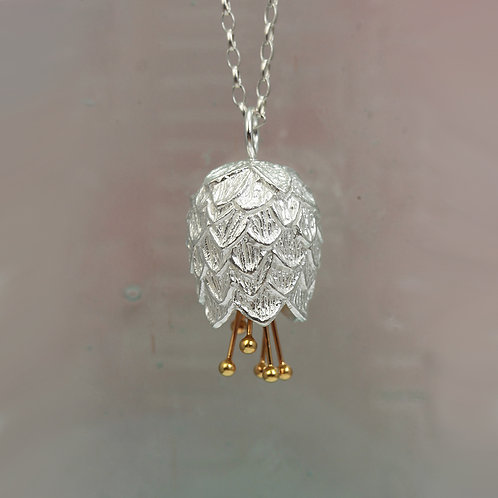 Thistle Silver & Gold Pendant