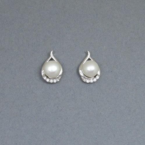 Freshwater Pearl & Cubic Zirconia Earrings