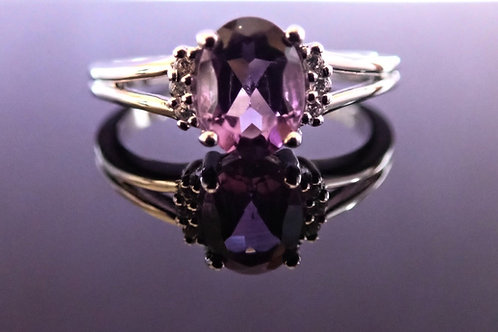 Silver Oval Amethyst and CZ  Ring - Sterling Silver