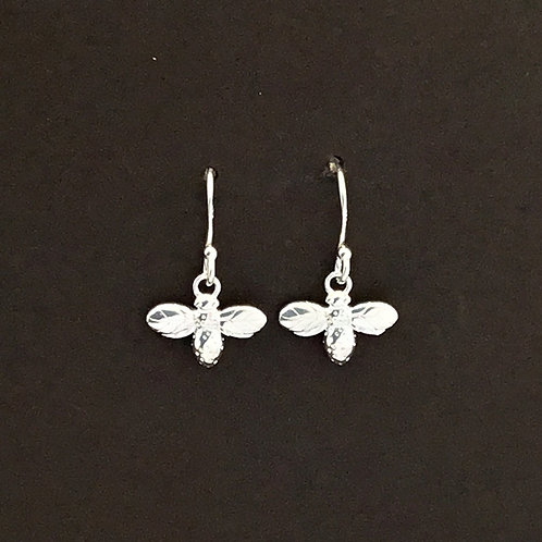 Silver Bee Drop Earrings - Sterling Silver