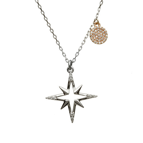 House of Lor Irish Gold Silver and Rose Gold CZ Star Pendant