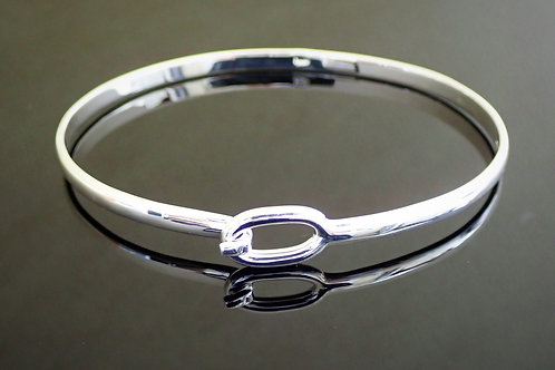 Front Opening Hook Catch Bangle - Sterling Silver