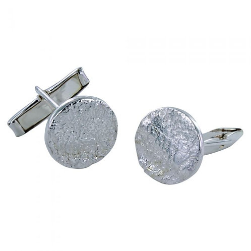 Dazzle Textured Cuff Links - Sterling Silver