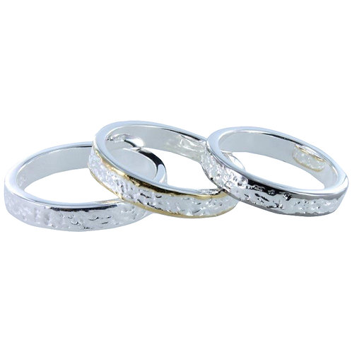 Silver Textured Ring - With Silver Edge