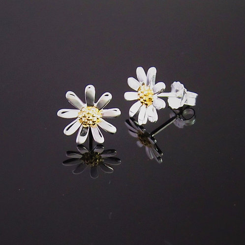 Daisy Earrings 10mm - Sterling Silver with Gold Vermeil