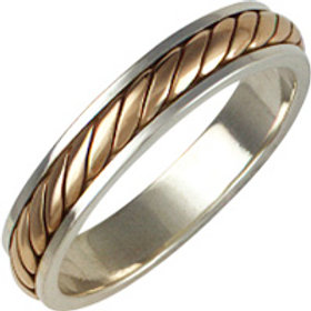 Silver Two Colour Wedding Ring -  Sterling Silver With Rope Inlay  - Gents