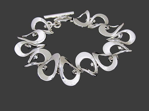 Twisted Oval Link Bracelet  - Sterling Silver