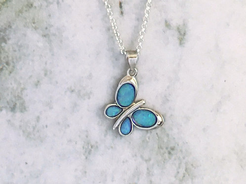 Butterfly Opalite Necklace - Sterling Silver