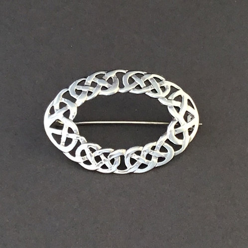 Open Celtic Design Brooch - Sterling Silver