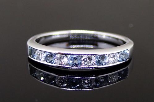 Aquamarine and Diamond eternity ring- White gold.