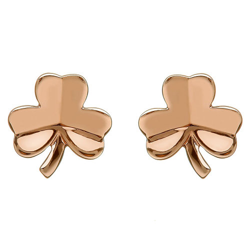 House of Lor Rose Gold Shamrock Stud Earrings