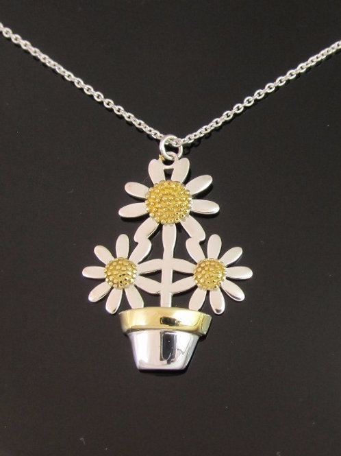 Daisy Flowerpot Necklace - Sterling Silver with Gold Vermeil