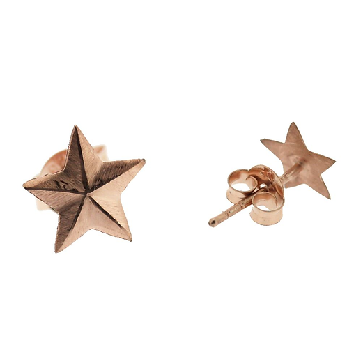 Festive Star Earrings in Sterling Silver with Rose Gold Vermeil
