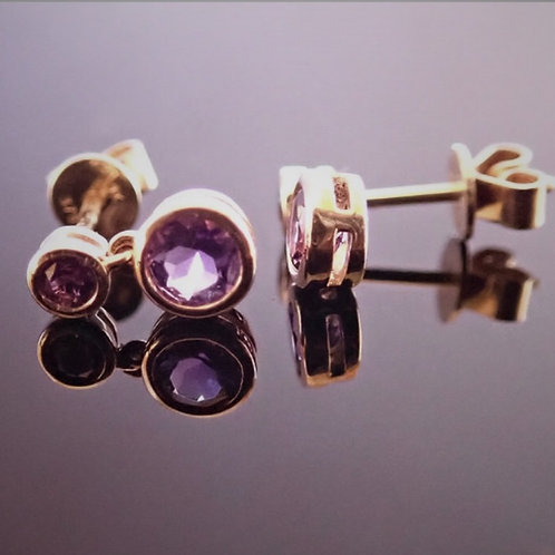 9ct Gold, Double Round Amethyst Drop Earrings
