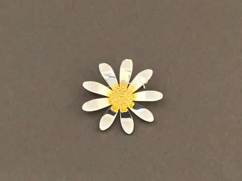 Large Daisy Brooch  - Sterling Silver and Yellow Gold Plate Textured Centre