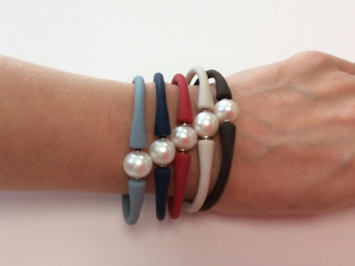 Neoprene Pearl Bangle - Six Colours Available  - Fresh Water Pearl