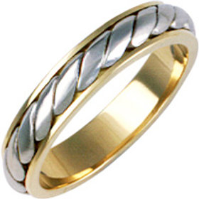 9ct Gold Two Colour Wedding Ring -  With 9ct White Gold Rope Inlay  -  Ladies