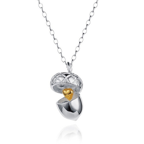 Silver Acorn Pendant  With Golden Heart - Sterling Silver