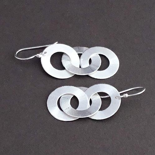 Three Circle Drop Earrings - Sterling Silver