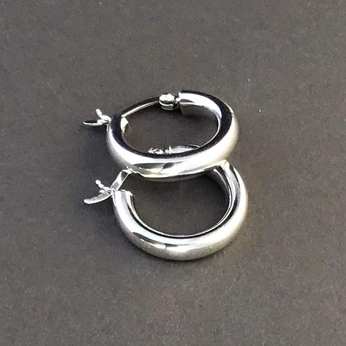Chunky Silver Hoop Earrings - Sterling Silver