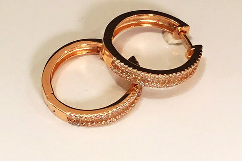 Rose Gold and CZ Hoop Earrings - Sterling Silver