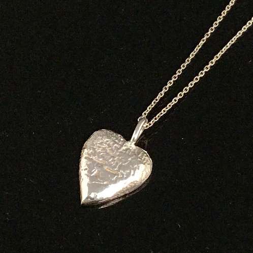 Heart Necklace - Textured Sterling Silver