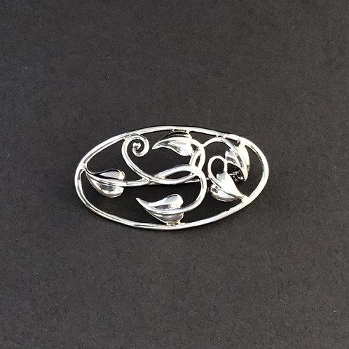 Rennie Mackintosh Inspired Art Nouveau Leaves Brooch - Sterling Silver