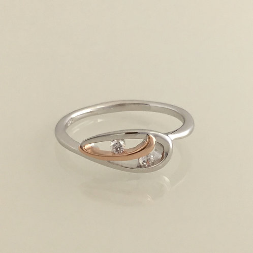 Ring-Sterling silver with CZ's & rose gold plating