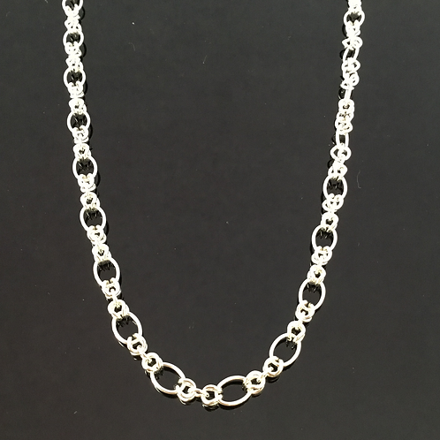 Oval and Knot Link Necklace - Sterling Silver