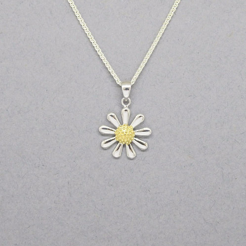 Daisy Necklace - Sterling Silver with Yellow Gold Vermeil