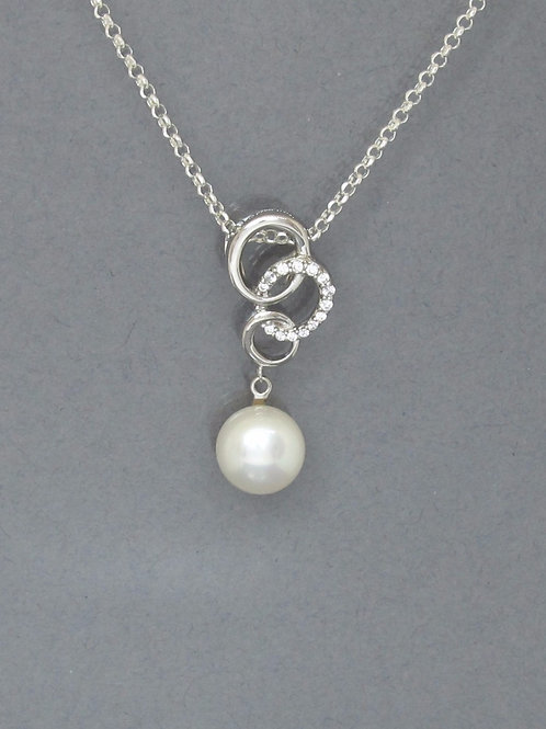 Pearl & Cubic Zirconia Sterling Silver Necklace