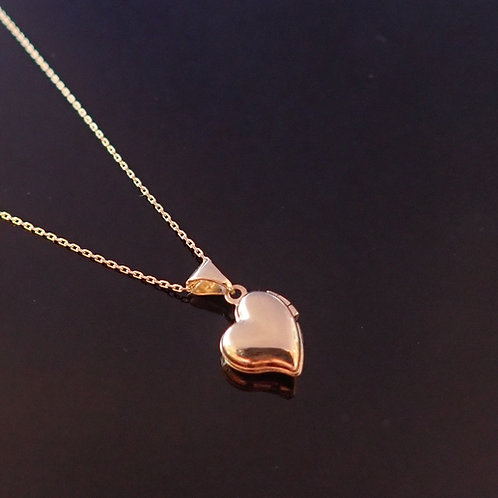 Valentine Heart Locket Gold Love Present Gift Pendant