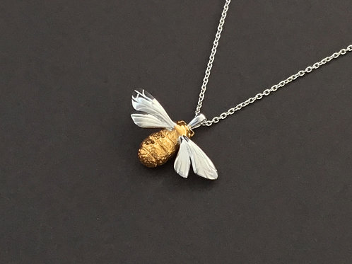 Queen Bee Necklace  - Sterling Silver and 18ct gold vermeil