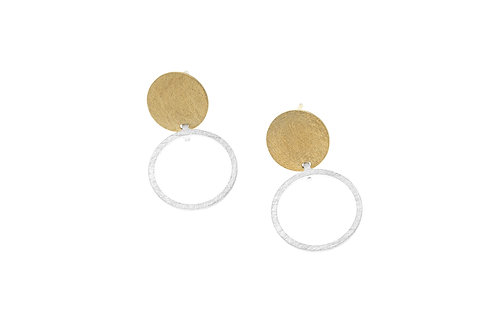 Deco Echo Disc and Circle Earrings  - Sterling Silver