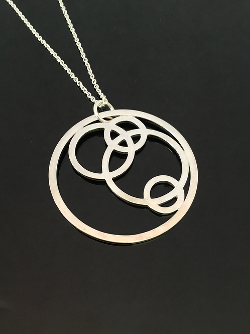 long sterling silver circles pendant, necklace, robert paul adams, stylish