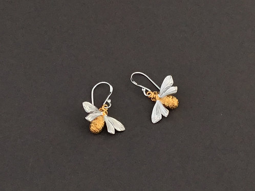 Queen Bee Earrings - Sterling Silver and 18ct gold vermeil