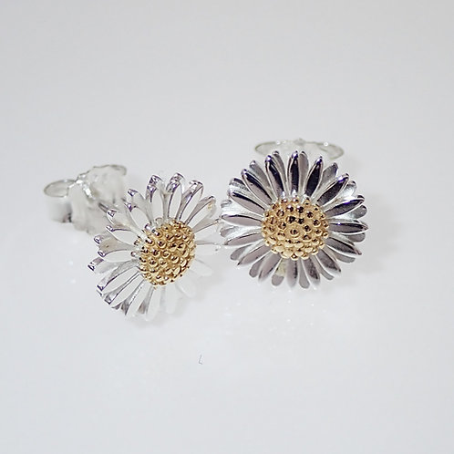 Double Petal Daisy Stud Earrings 1cm - Sterling Silver with Gold Plating