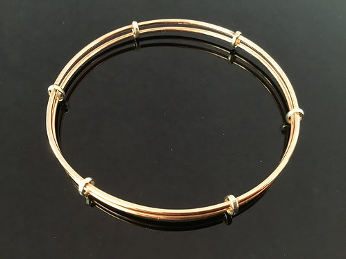 Rose Gold Bangle - 9 ct Rose Gold with White Gold Detail