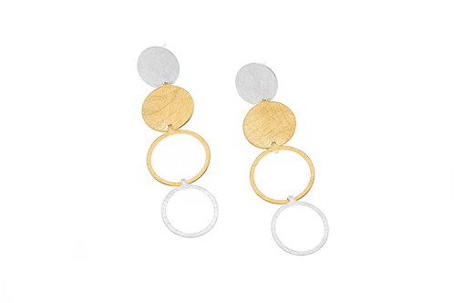 Deco Echo Disc and Circle Drop Earrings  - Sterling Silver