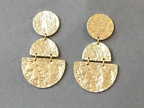 Gold Plated Textured Disc Drop Earrings - Sterling Silver