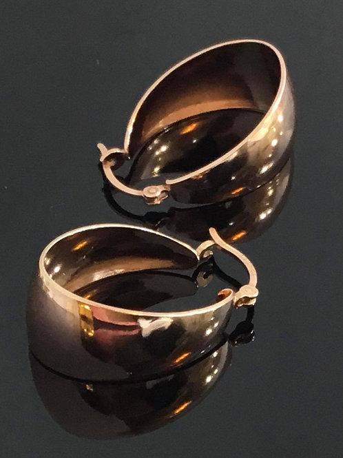 Tapering Hoop Earrings - Rose Gold plated  Sterling Silver