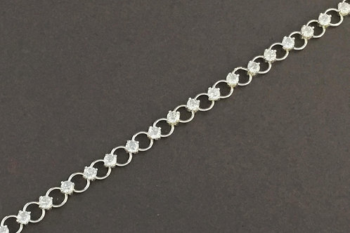 Cubic Zirconia Ring Loop Bracelet - Sterling Silver