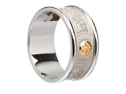 House of Lor Celtic Shield Ring Heavy Rimmed - Silver and Irish Gold