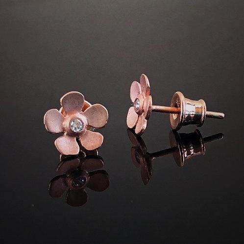 Deco Echo Flower Earrings - Jacek Wysokinski- Rose Gold Vermeil and CZ's