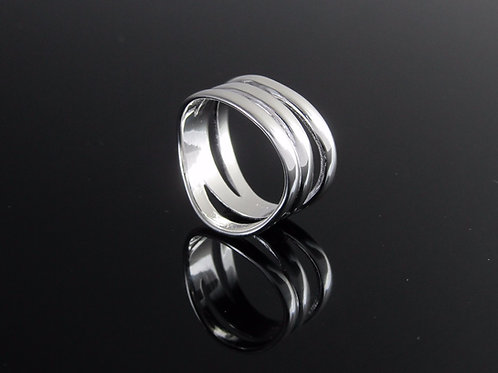 contemporary sterling silver three layer wave ring